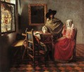 A Lady Drinking and a Gentleman Barock Johannes Vermeer