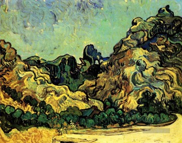 Vincent Van Gogh Werke - Mountains at Saint Remy with Dark Cottage Vincent van Gogh
