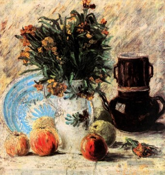 Vincent Van Gogh Werke - Vase with Blumen Coffeepot and Fruit Vincent van Gogh