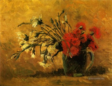 Vincent Van Gogh Werke - Vase with Red and White Carnations on a Yellow Background Vincent van Gogh