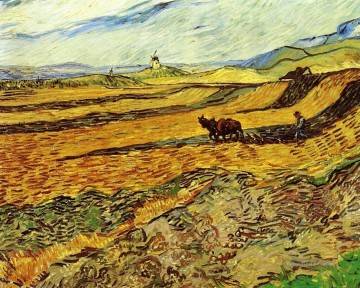Vincent Van Gogh Werke - Field and Ploughman and Mill Vincent van Gogh