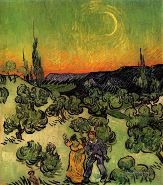 Landschaft with Couple Walking and Crescent Moon Vincent van Gogh Ölgemälde
