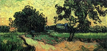 Vincent Van Gogh Werke - Landschaft with the Chateau of Auvers at Sunset Vincent van Gogh