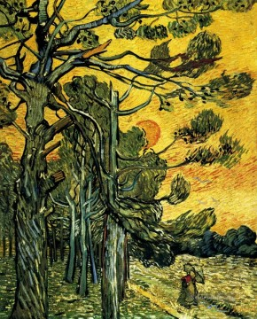 Pine Trees against a Red Sky with Setting Sun Vincent van Gogh Ölgemälde