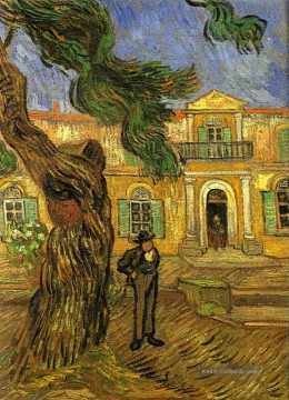 Vincent Van Gogh Werke - Pine Trees with Figure in the Garden of Saint Paul Hospital Vincent van Gogh