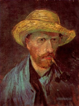 Self Porträt with Straw Hat and Pipe Vincent van Gogh Ölgemälde