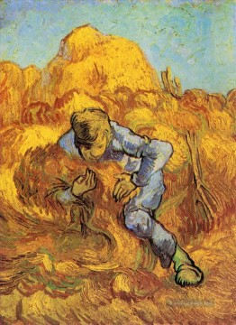 Vincent Van Gogh Werke - Sheaf Binder The after Millet Vincent van Gogh