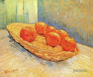 Vincent Van Gogh Werke - Still Life with Basket and Six Oranges Vincent van Gogh