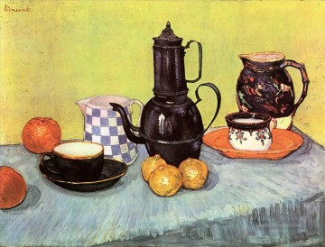 Vincent Van Gogh Werke - Still Life with Blue Enamel Coffeepot Earthenware and Fruit Vincent van Gogh
