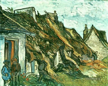 Vincent Van Gogh Werke - Thatched Cottages in Chaponval Auvers sur Oise Vincent van Gogh