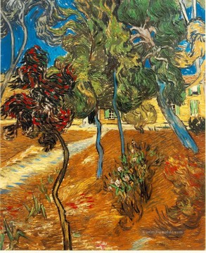 Vincent Van Gogh Gemälde - Trees in the Asylum Garden Vincent van Gogh