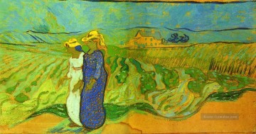 Vincent Van Gogh Werke - Two Women Crossing the Fields Vincent van Gogh