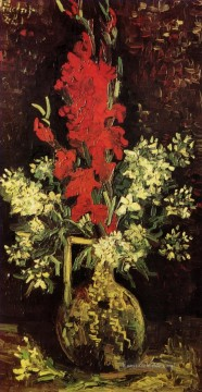 Vincent Van Gogh Werke - Vase with Gladioli and Carnations 2 Vincent van Gogh
