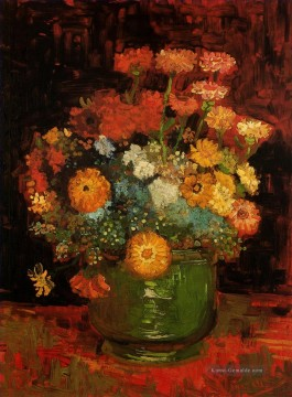Vase with Zinnias Vincent van Gogh Ölgemälde