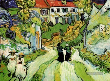 Vincent Van Gogh Werke - Village Street and Steps in Auvers with Figures Vincent van Gogh