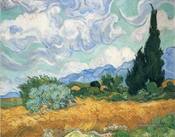 Vincent Van Gogh Werke - Wheatfield with cypress tree Vincent van Gogh