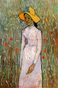 Vincent Van Gogh Werke - Young Girl Standing Against a Background of Wheat Vincent van Gogh