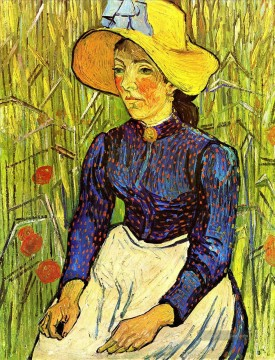 Young Peasant Girl in a Straw Hat sitting in front of a wheatfield Vincent van Gogh Ölgemälde