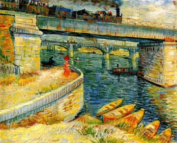 Bridges across the Seine at Asnieres Vincent van Gogh Ölgemälde