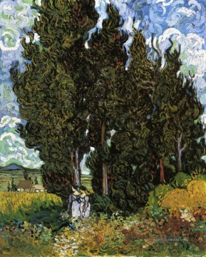 Vincent Van Gogh Werke - Cypresses with Two Women Vincent van Gogh