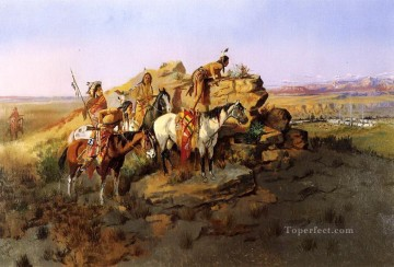 marion - beobachtete die Siedler 1895 Charles Marion Russell Indianer