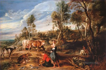 Tier Werke - Sir Peter Paul Rubens milkmaids mit Rinder in einer Landschaft The Farm in Laeken