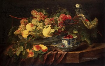 Vogel Werke - classical Still life with Fruits and Parrot Vögel