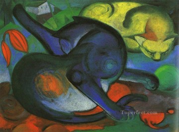Two Cats blue and yellow Franz Marc Ölgemälde