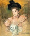 Frau in Raspberry Costume Holding a hund Impressionismus Mutter Kinder Mary Cassatt