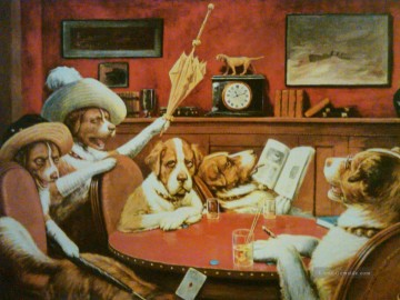 dogs playing poker Ölbilder verkaufen - dogs Sitting Up With A Sick Friend