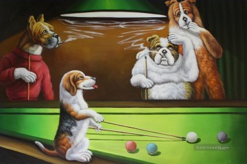dogs playing poker Ölbilder verkaufen - Dogs Playing Pool Lustiges Haustier