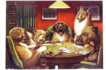 dogs playing poker Ölbilder verkaufen - Animal acting human Hunde playing cards Lustiges Haustiere