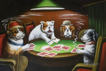 dogs playing poker Ölbilder verkaufen - Dogs Playing Poker 2 Lustiges Haustiere