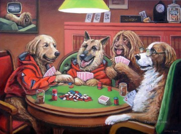 dogs playing poker Ölbilder verkaufen - Dogs Playing Poker 3 Lustiges Haustiere