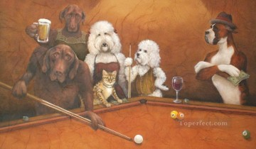 dogs playing poker Ölbilder verkaufen - cat Hunde playing pool Lustiges Haustiere
