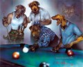 cg Hunde Playing Pool Lustiges Haustiere
