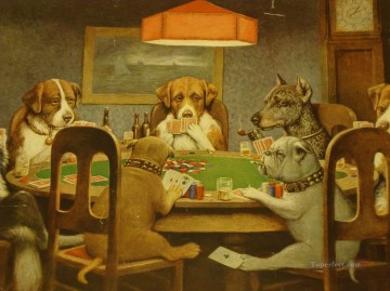 dogs playing poker Ölbilder verkaufen - dogs playing poker 4 Lustiges Haustiere