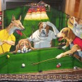 dogs playing pool 2 Lustiges Haustiere