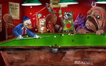 dogs playing poker Ölbilder verkaufen - animals playing pool Lustiges Haustiere