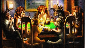 dogs playing poker Ölbilder verkaufen - dogs playing poker Lustiges Haustiere