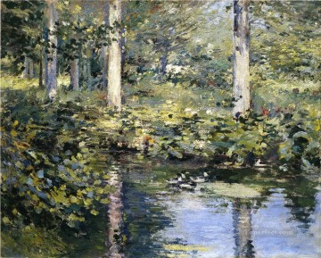Tier Werke - The Duck Pond Impressionismus Landschaft Theodore Robinson