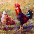 Talis Guard Chicken Trivet Painting by Karen Whitworth