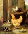 A Hen Chicks And Pigeons farm Tiere Edgar Hunt