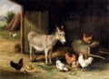 Donkey Hens And Chickens In A Barn farm Tiere Edgar Hunt