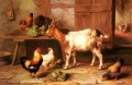Goat And Chickens Feeding In A Cottage Interior farm Tiere Edgar Hunt