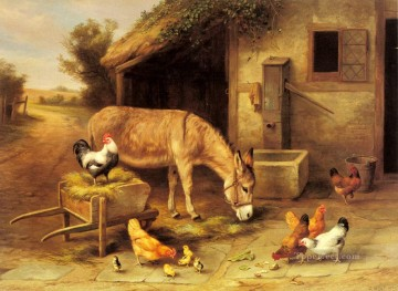 Hausgeflügel Werke - A Donkey And Chickens Outside A Stable farm Tiere Edgar Hunt