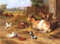 A farmyard Scene With Goats Chickens Doves farm Tiere Edgar Hunt