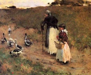 Hausgeflügel Werke - old woman with child and goose 1885