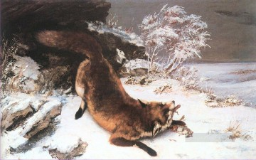 Tiere von unterschiedlichen Sorten Werke - The Fox in the Snow Realist Realism painter Gustave Courbet Tier