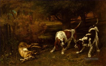 Tier Werke - Gustave Courbet Hunting Hunde mit Dead Hare